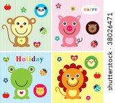 cutie animals greeting   Shutterstock .eps vector #38026471