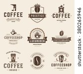 coffee shop logos templates set.... | Shutterstock .eps vector #380265946