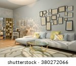 3d render of interior design... | Shutterstock . vector #380272066