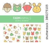 children's design kit with farm ... | Shutterstock .eps vector #380275105