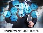 businessman pressing button on...   Shutterstock . vector #380280778
