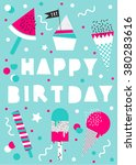 vector happy birthday card with ... | Shutterstock .eps vector #380283616
