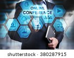 businessman pressing button on...   Shutterstock . vector #380287915