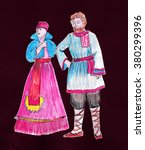 couple in traditional dress... | Shutterstock . vector #380299396