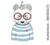 panda sailor  nautical poster ...   Shutterstock .eps vector #380303272