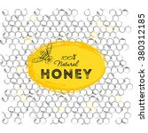 set of honey banners with hand... | Shutterstock .eps vector #380312185