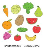 carrot  cabbage  broccoli  pear ... | Shutterstock .eps vector #380322592