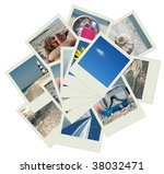 stack of shots with vacation... | Shutterstock . vector #38032471