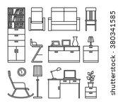 Line Furniture Icons. Black...
