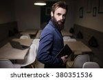 bearded man in suit and with... | Shutterstock . vector #380351536