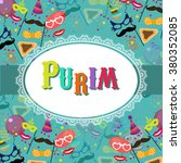 jewish holiday purim vector... | Shutterstock .eps vector #380352085