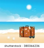 luggage with traveling stickers ... | Shutterstock .eps vector #380366236