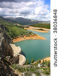 aerial view of a water dam with ...   Shutterstock . vector #38036848