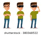 funny cartoon guy using virtual ... | Shutterstock .eps vector #380368522