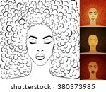 stylish portrait of young woman ... | Shutterstock .eps vector #380373985