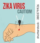 zika virus mosquito on the hand ... | Shutterstock .eps vector #380375926