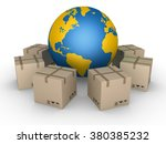 carton boxes in a circle around ... | Shutterstock . vector #380385232