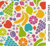 seamless pattern with fruits... | Shutterstock . vector #380389666