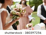 happy stylish bride with... | Shutterstock . vector #380397256