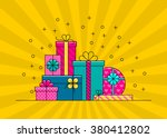 wrapped gift boxes vector... | Shutterstock .eps vector #380412802