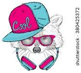 raccoon headphones. hipster. | Shutterstock .eps vector #380425372