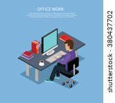 isometric man office work... | Shutterstock .eps vector #380437702