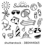 set of summer doodle isolated... | Shutterstock .eps vector #380444065
