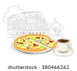 italian pizza and coffee.... | Shutterstock .eps vector #380466262