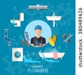 professional plumber plumbing... | Shutterstock .eps vector #380489626