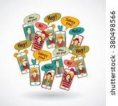 mobile phones group happy... | Shutterstock .eps vector #380498566