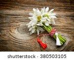 bouquet of snowdrops on wooden...   Shutterstock . vector #380503105
