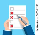 hand filling checklist ... | Shutterstock .eps vector #380506912