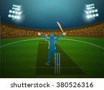 cricket batsman standing in... | Shutterstock .eps vector #380526316