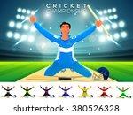 cricket batsman in winning pose ... | Shutterstock .eps vector #380526328