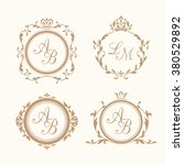 set of elegant floral monogram... | Shutterstock . vector #380529892