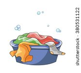 dirty clothes soak in tub with...   Shutterstock .eps vector #380531122