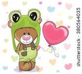 Cute Cartoon Teddy Bear In A...