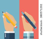 pencil and pen hold in hand set ... | Shutterstock .eps vector #380571202