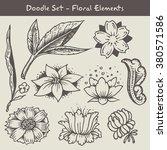 set of doodle flowers | Shutterstock .eps vector #380571586
