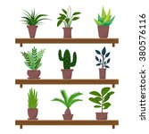set of green indoor flat style... | Shutterstock .eps vector #380576116