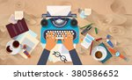 hands typing text writer author ... | Shutterstock .eps vector #380586652