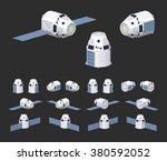 modern reusable spaceship. 3d... | Shutterstock .eps vector #380592052