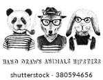 hand drawn dressed up animals... | Shutterstock .eps vector #380594656