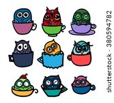 hand  drawn funny owl with cups ... | Shutterstock .eps vector #380594782