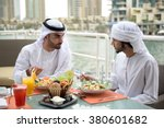 two young emirati arab friends... | Shutterstock . vector #380601682