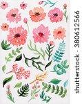 watercolor floral set | Shutterstock . vector #380612566