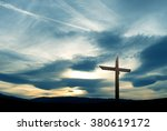 christian cross made of wood... | Shutterstock . vector #380619172