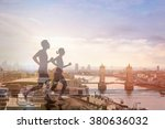two runners and panoramic view... | Shutterstock . vector #380636032