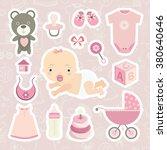 baby shower. child. baby. cute... | Shutterstock .eps vector #380640646