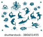 sea life and fishes icon set.... | Shutterstock .eps vector #380651455